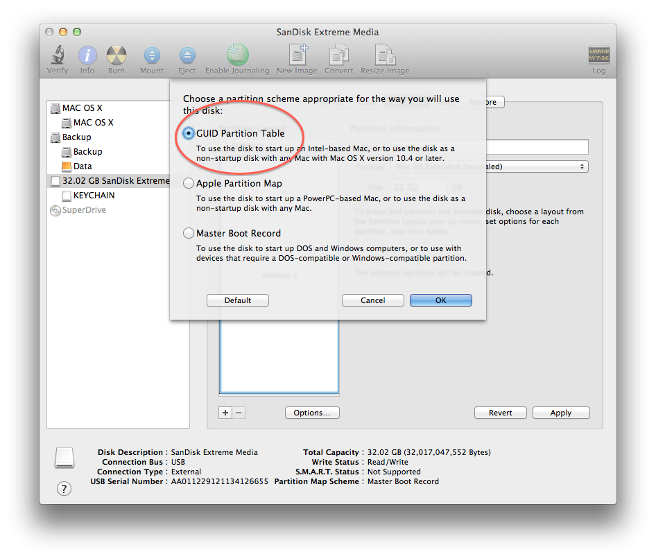 Disk Utility Options