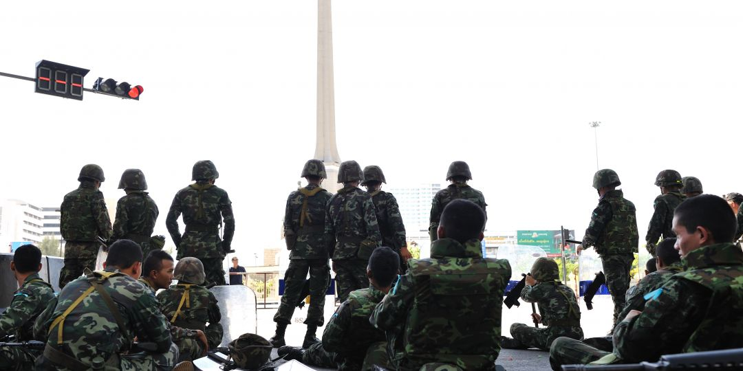 Thai Army in Victory Monument, Bangkok, Thailand