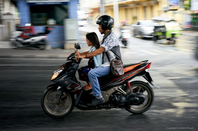 Father and Daugther on a Motorcycle